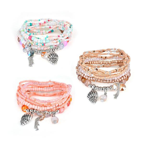 Womens Bohemian Multilayer Bracelet Beads Tassel Bangle Conch Shell Pendant Bracelet Stackable Bracelet Charm Jewelry Girls Free DHL H551F
