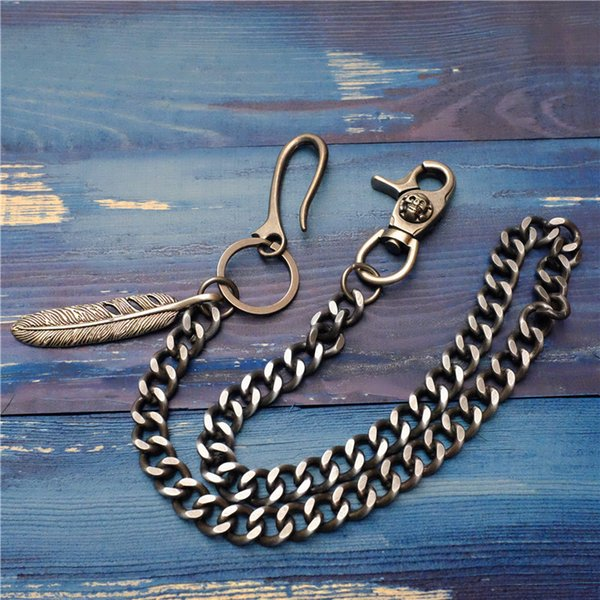 72cm Men's Jewelry Feather Metal Waist Chain Wallet Key Chain Rock Punk Gothic Trousers Motorcyle Hiphop Jeans Pants Chains Hot