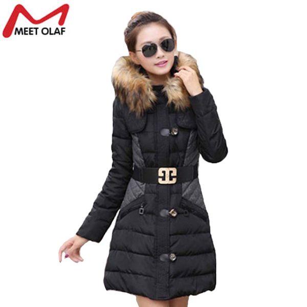 Fashion Women Winter Jacket Wadded Coat Cotton Padded Parka Winter Warm Thick Fur Hood Overcoat abrigos mujer invierno YL004