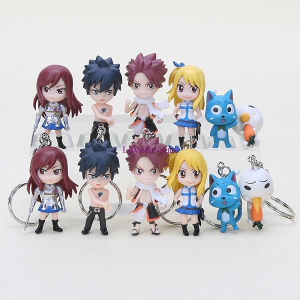 6pcs/set keychain Fairy Tail Figure Natsu Happy Lucy Gray Elza pendant phone keyring pvc Action Figures toys