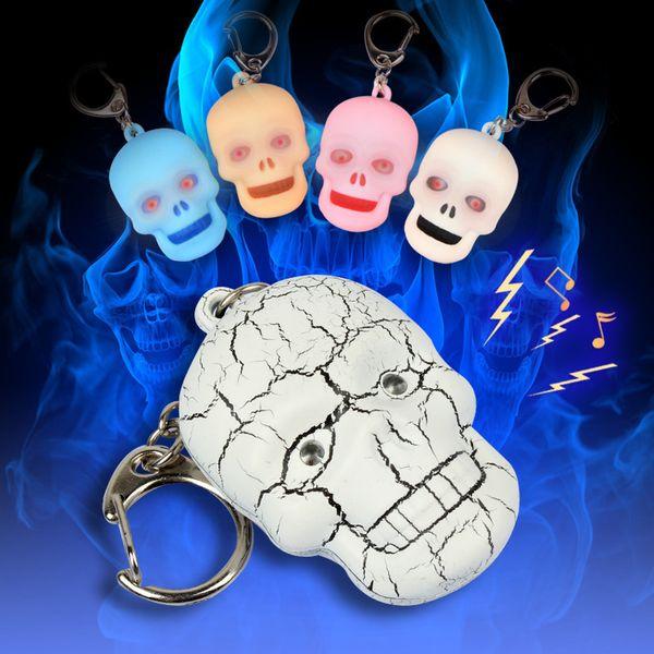 Halloween skull head ghost head LED sound light key chain flashlight small night lamp pendant