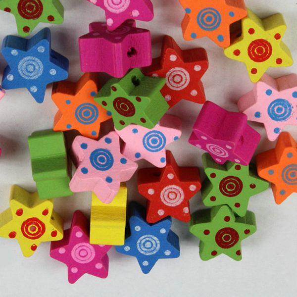 top popular 100pcs mixed star Wood Beads Lot Craft Kids Jewelry Making 2021