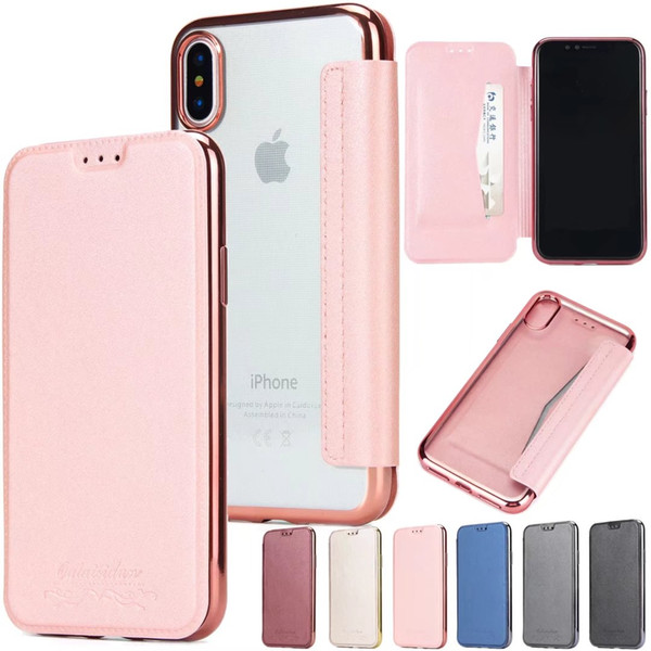 For iphone x 8 7 plu tpu tran parent wallet leather flip back cover phone ca e for am ung 8 9 plu