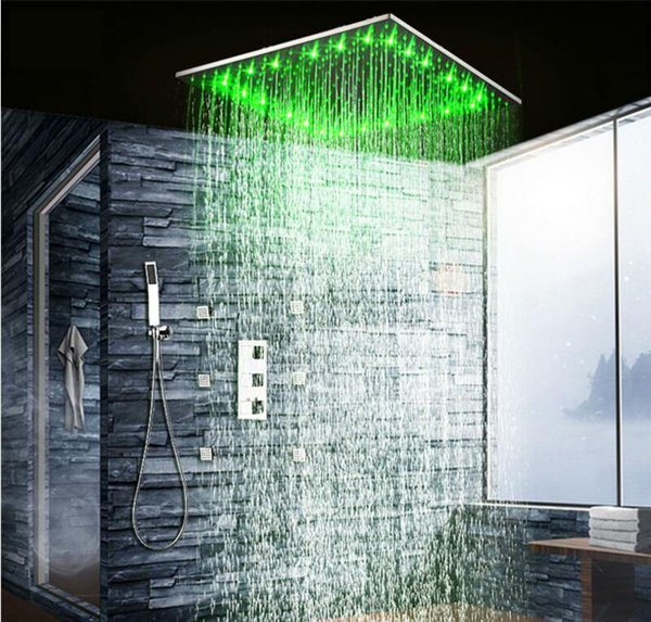 """LED Shower Head Rainfall Thermostatic Shower Set 6 Massage Body jets Panel & 20"""" Embedded Ceiling 3 Ways Concealed"""