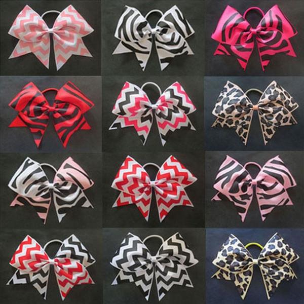 12pcs 7'' Girls Cheer Bows Chevron Grosgrain Ribbon Cheerleading Bows with Elastic Hair Band Girls Hair Accesories Free Shipping