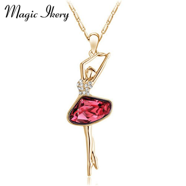 pendant jewelry Magic Ikery Gold Color Rhinestone Crystal Cute Lovely Dancing girl Necklaces Pendants Jewelry for women MK4358