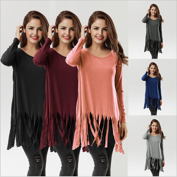 T Gömlek Kadın Saçak Elbiseler Seksi Uzun Kollu Bluz Kadınlar Tops Moda Gevşek Blusas Casual Uzun Katı Fanila Vestidos Giyim 3893