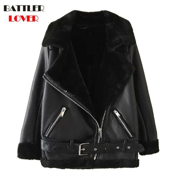 2018 Women Fur Leather Jacket Winter Thick Warm Jacket Womens Rivet  Design Hip Hop Biker Jacket Mujer Femme Leather Coats
