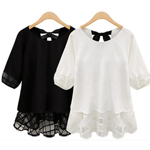 2015new moda artı boyutu L XL XXL XXXL 4XL 5XL kadın giyim kız yaz dantel şifon gömlek bluzlar tops