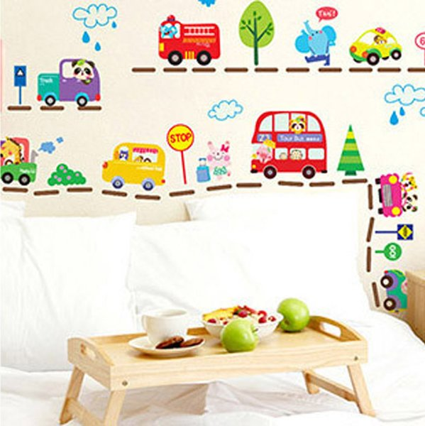Hot Sale Cute Cartoon Cars Traffic Wall Sticker Baby Boys Room Decorative Automobile Stickers Poster for Kids Rooms WT067