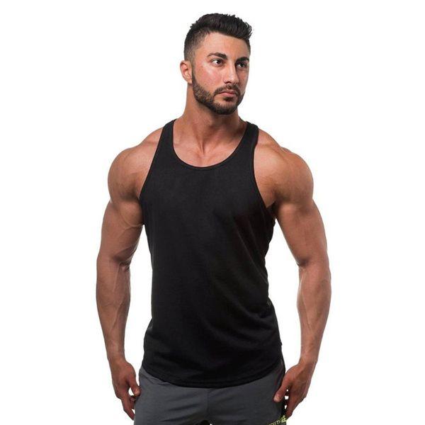 Wholesale Cotton Gym Tank Top Mens Bodybuilding Stringer Tops Undershirt Fitness Vest Muscle Sleeveless Singlet Racerback Top
