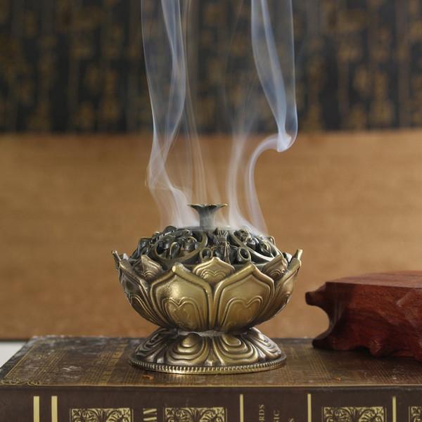 Brillant Bouddha En Alliage Brûleur D'encens Fleur De Lotus Porte-Encens À La Main Encensoir pour Décoration de Bureau À Domicile Bouddhiste