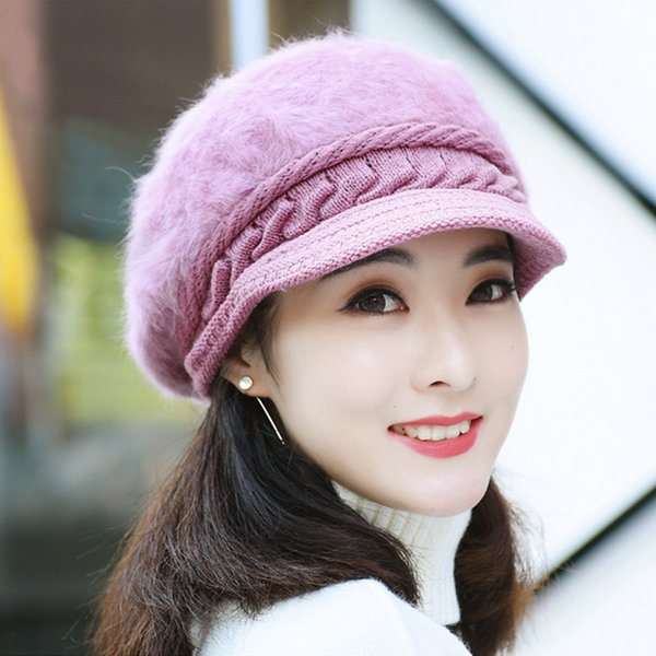 af8667c5d80 HT1914 Women Autumn Winter Hats Korea Style Rabbit Fur Newsboy Caps Beret  Hat Ladies Solid Knitted Hats Casual Warm Women Berets