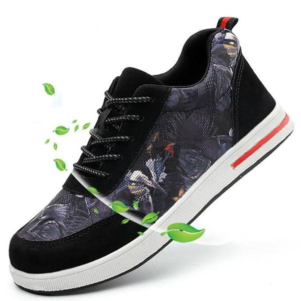 Novos homens da moda tamanho grande biqueira de aço respirável cobre segurança de trabalho sapatos de construção trabalhador botas de segurança de proteção
