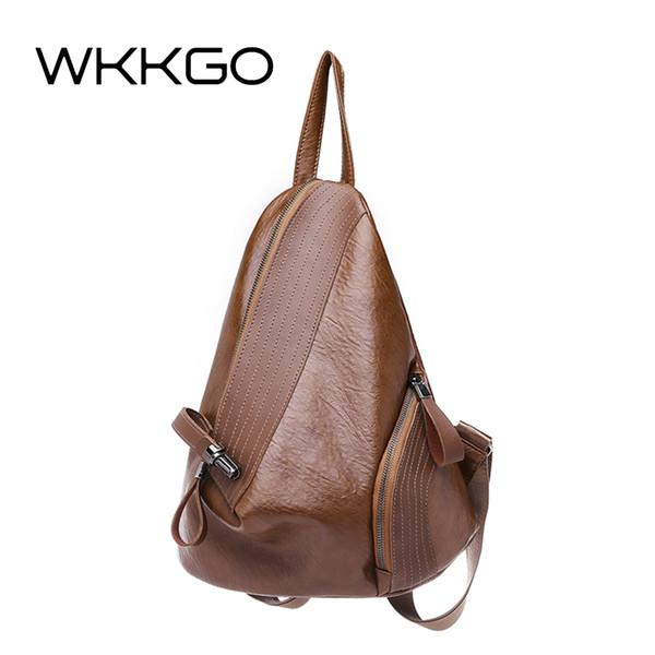WKKGO Brand Brown Vintage Bags Women Shopping Bookbags Ladies Travel Pack Student School Backpacks Shoulder Large Capacity Bag