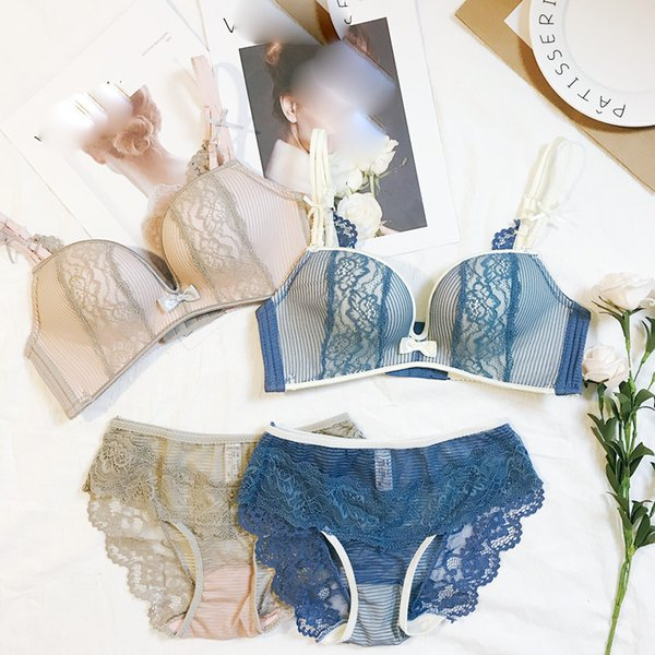 Japanese style young girls small cup adjustable lingerie lace sexy ladies seamless bra and panty set embroidery woman underwear