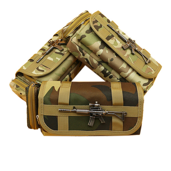 Creative Camouflage Pencil Bag Large Oxford Canvas Pencil Case For Boy Gift Korean Stationery