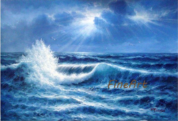 hand-painted oil wall painting ocean waves acrylic painting seascape inspirational quotes arts living room decorative item unique gift