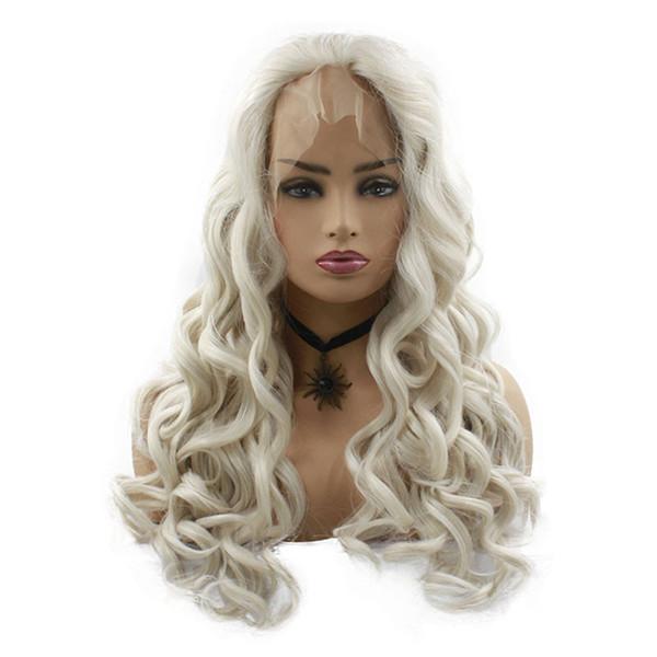 Moda Sıcak 28 inç Uzun Dantel Ön Peruk Kadınlar için Kıvırcık Sentetik Peruk Beyaz Peruk Cosplay