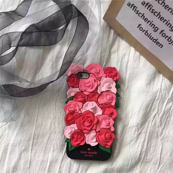 Rubber silicone case for iphone X 5 6 6Plus 7 Plus 8Plus soft 3D rose flower cell phone case for sexy girl