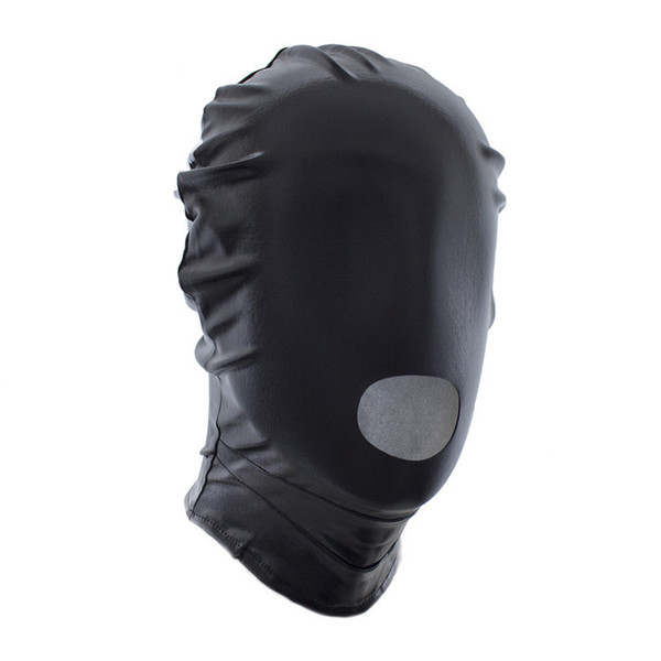 2018 Newest Sexy Black/Red PU Leather Mask Open Mouth Fetish Mask Funny Shiny Metallic Hood Mask Zentai Suit Accessory