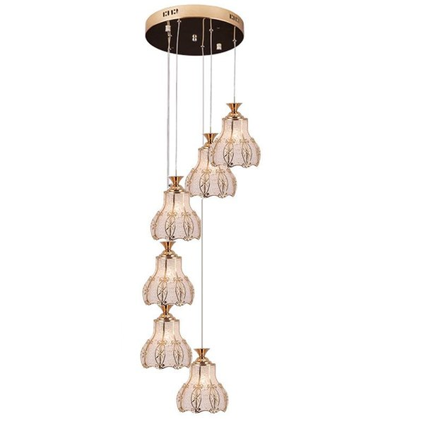 OOVOV Creative Duplex Stair Long Pendant Light Gold Spiral Staircase Restaurant Bedroom Acrylic Pendant Lamp Chandelier
