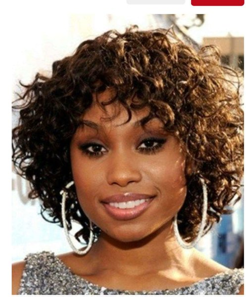 African american short curly bob thick human hair lace front wig with bang 10inch 180%density black brown