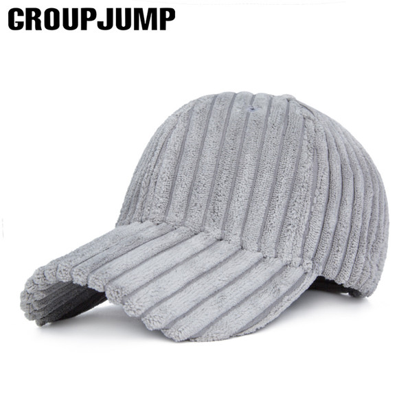 GROUP JUMP Fashion Winter Baseball Cap Women Thick Adjustable Winter Bone Warm Sport Caps Men Solid Color Gorras