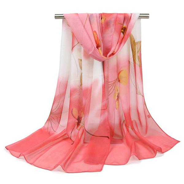 Wholesale 7 Styles Chiffon Floral Designer Scarf 155*50cm Women Hijab Shawls Pashmina Head Wrap Scarves Table Blanket Beach Towel