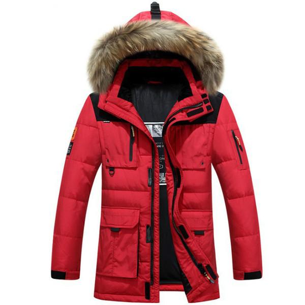 Cappotto di pelliccia da uomo in pelliccia di procione Piumino invernale Addensato Giacca a vento Cappotto da neve caldo Cappotto Parka lungo Piumini d'anatra Uomo Nero Marche