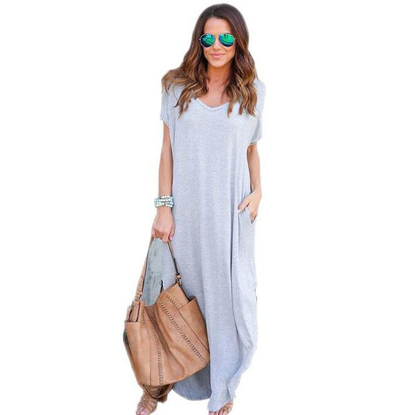 b709ddae02dd4 20187 2018 Women Summer Casual Shift Dresses Womens Plain Grey V Neck Short  Sleeve Rolled Cuff Pockets Split Maxi Dress Dresses For Cocktail Dress ...