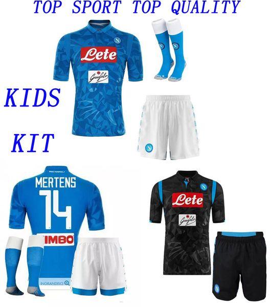 8d70acad5 18 19 Kids SSC Napoli Soccer Jersey Shorts Socks INSIGNE ZIELINSKI MERTENS  Football Sets Naples Home
