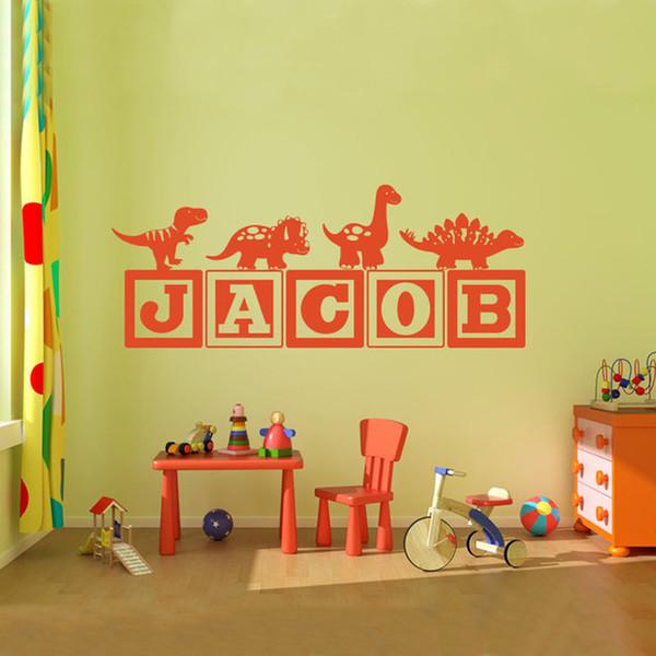 Brand-new Boys Dinosaur Blocks Name Wall Decal Nursery Room Kids Vinyl Wall Graphics Decor Sticker -You Choose Name& Color