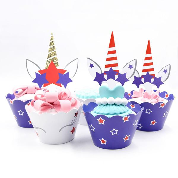24pcs/lot Two Sided Printing DIY Star Unicorn Party Cake Topper Wedding Birthday Party Decorations Cupcake Halloween Xmas Paper Supplies
