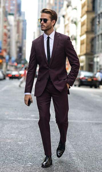 Latest Coat Pants Designs Wine Red Street Tuxedo Formal Business Men Suits for Wedding Slim Fit Mens Blazer 2 Piece Jacket+Pants
