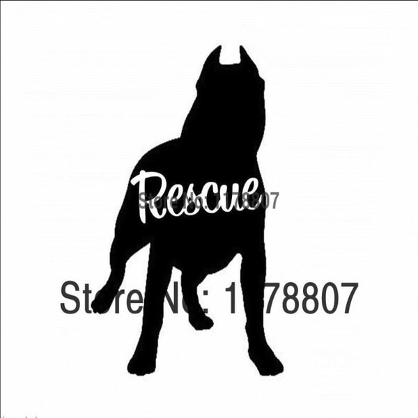 HotMeiNi Wholesale 20pcs/lot Pit Bull Dog Rescue Sticker For Car Rear Windshield Truck SUV Bumper AutoLaptop Canoe Art Wall Vinyl Decal