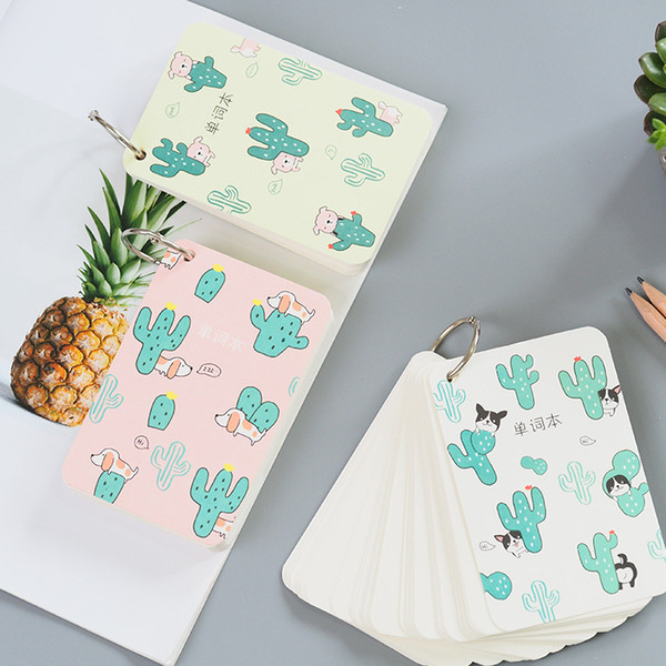 110 Sheets Cactus & Puppy Dog Portable Mini Vocabulary Writing Reciting Book Kids Gift Plan Writing Paper Organizer Portable