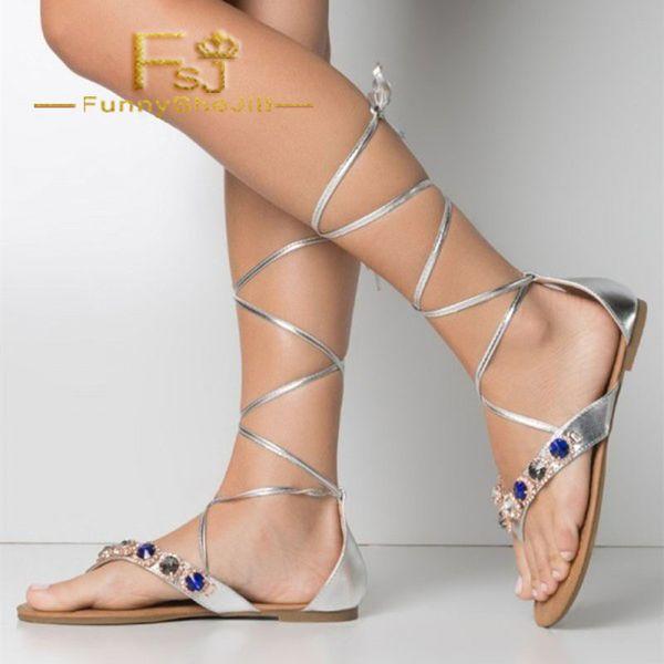 04f335c9701 Silver Beach Gladiator Sandals Strappy Flat Rhinestone Sandals Summer  Attractive Generous Incomparable Noble Elegant FSJ Sexy