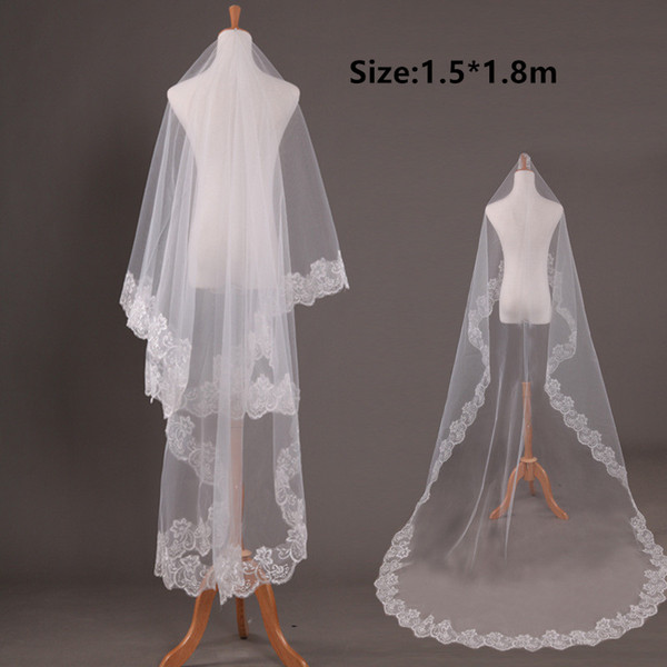 top popular Free Shipping 2019 Cheap Wedding veil Soft tulle with Applique Edge 1.5*1.8m White,ivory Bridal veils Wedding Accessories voiles de mariage 2021
