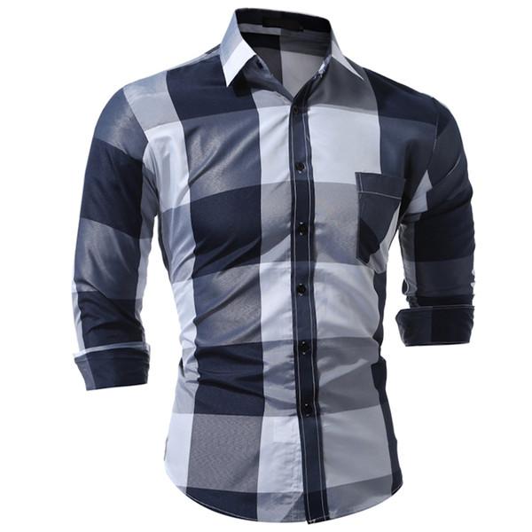 Marke 2017 Mode Männliches Hemd Mit Langen Ärmeln Tops Mode Hit Farbe Große Plaid Mens Dress Shirts Schlank Männer Shirt 3XL
