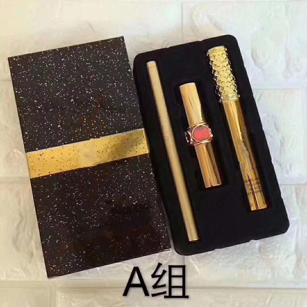 Free Shipping 2018 Hot New Brand Makeup full size set 1Set= 3pcs Mascara +Lipstick +Eyeliner 3in1 SET 2 styles Aset Bset Cosmetics