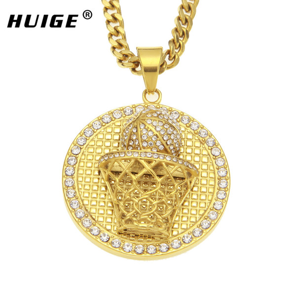 wholesale Stainless Steel Gold Color Basketball Rim Pendant Neckalce Iced out Luxury Rhinestone Hip Hop Jewelry 5mm*27.5inch Cuban chain