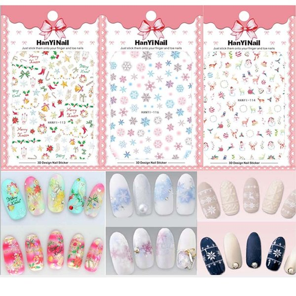 5 Sheets Xmas 3D Nail Decal Snowman elk butterfly colorful snowflakes Designs Christmas Nail Art Sticker DIY Decorations Tips