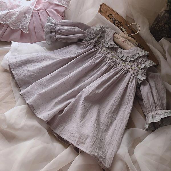 Boutique ropa para niñas vestidos pent pan collar flor diseño de bordado vestido elegante suave vestido de niña