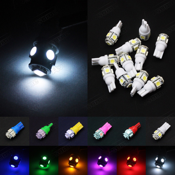 50Pcs-Pack Car T10 Wedge 5-SMD 5050 LED Side Tail Parking Indicator Dome License Plate Light a bulbs W5W 2825 158 2825 12V Lighting