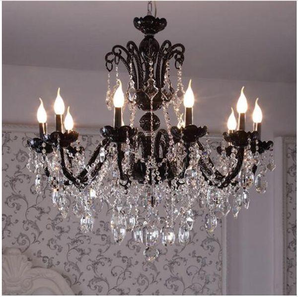 svitz 8-12 arm vintage Antique black chandelier home crystal lighting glass lamp living room hanging light lustres de cristal lamparas