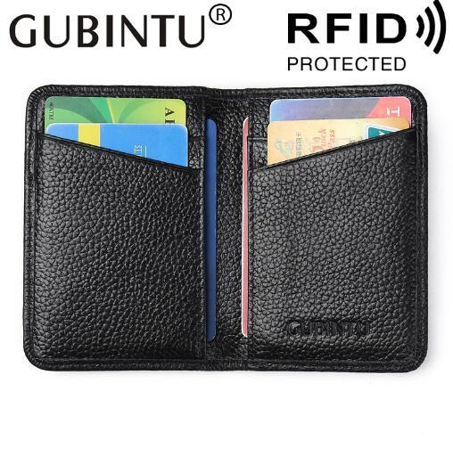 Brand casual leather RFID card wallet business magnetic scanning anti-theft bank card credit card holder bag