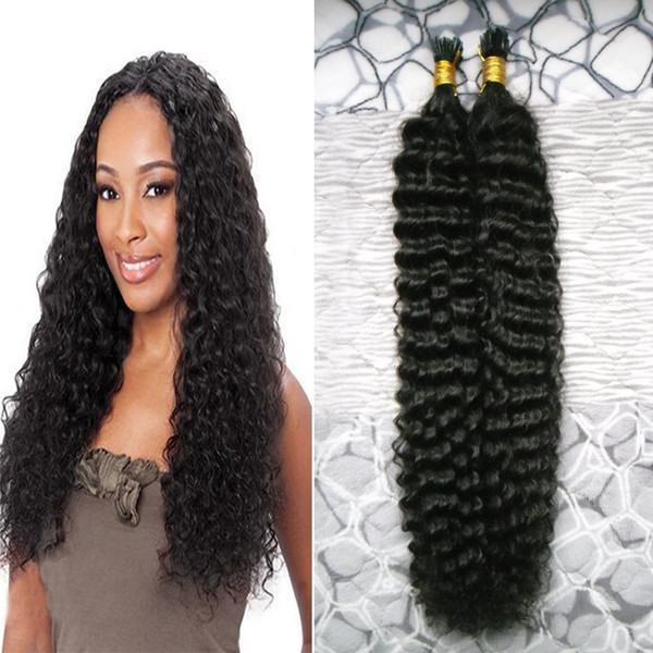 Unprocessed Brazilian Virgin Hair Deep Wave I Tip Hair Extensions 100g/strands Stick Keratin Pre Bonded Double Drawn Remy Hair Extension