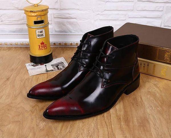 2018 أحذية عالية رجل النبيذ الأحمر مع إصبع القدم مدببة رجل جزمة قصيرة الأحذية الذكور فرشاة لون الجلد وأشار أصابع المصمم رجل حذاء مقاسات كبيرة EU38 إلى 46