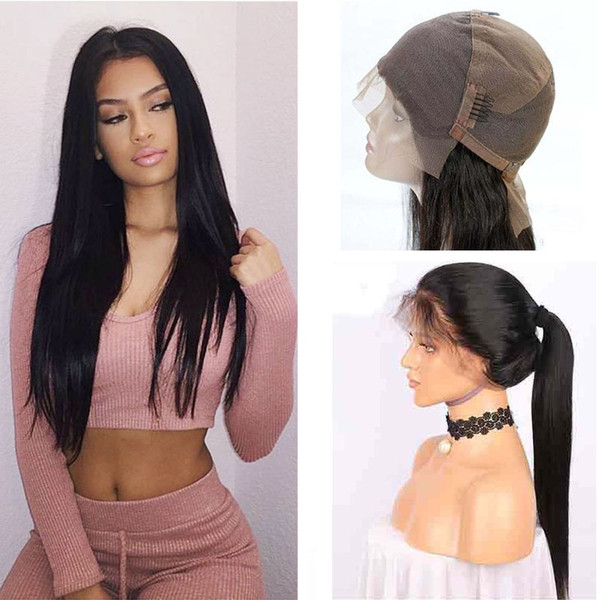 top popular Brazilian Full Lace Human Hair Wigs For Black Women 150 Density Brazilian Straight Human Hair Lace Front Wigs With Baby Hair Around 2019